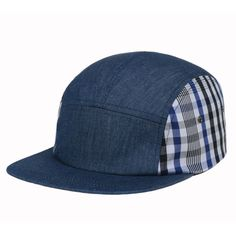 6948c95f002 5 Panel Hip Hop Hat Blue Denim Jean Stripe Plaid Cap Baseball Flat Bill  Goldtop