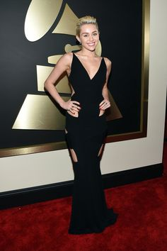 Miley Cyrus Stuns—and Shows Lots of Skin!—at the 2015 Grammy Awards: See the Pic Miley Cyrus, Grammy Awards 12 2 Miley Cyrus Grammys, Miley Cyrus Dress, Miley Cyrus Show, Rihanna, Beyonce, Britney Spears, Grammy Red Carpet, Beautiful Dresses, Nice Dresses
