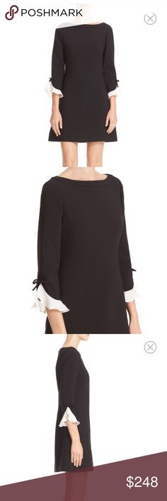 Kate Spade ruffle sleeve shift dress Black with white sleeve ruffles , exposed zipper in the back, lined kate spade Dresses