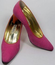 ESCADA Vintage Shoes Pumps 7 37 Heels Pink Orange Suede Hapachico Couture    #ESCADA #Heels