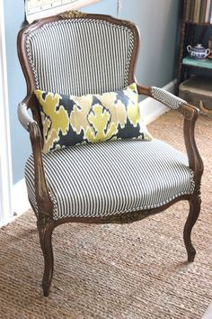 """Formal chair with ticking stripe casual beach house fabric. Forever cottage: Paint """"Duxbury Gray""""BM Curtains: Ikea Rug: Pottery Barn Coffee Table: World Market Frames: Ikea Antique Chairs, Vintage Chairs, Chair Upholstery, Chair Fabric, Pillow Fabric, Chair Cushions, Chair Pillow, Pillows, Chair Makeover"""