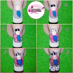 Cartoon Nail Designs, Nail Art Designs Videos, Nail Art Videos, Love Nails, My Nails, Nail Tutorials, Manicure And Pedicure, Nails Inspiration, Beauty Nails