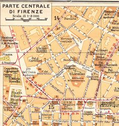 Florence Street  Map City Centre Vintage Italy Firenze by carambas, $10.00
