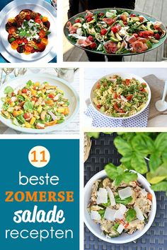 11 makkelijke, snelle recepten voor zomerse salades met net dat tikkeltje meer! Ideaal voor bij de barbecue of gewoon als maaltijdsalade.