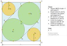 Geometry Problem 1093. Square, Circle, Tangent, Radius, Side, Sangaku, Japanese
