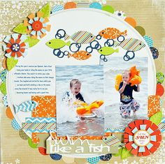 Kodak Moments--Ginger Williams: Swim Like A Fish Little Yellow Bicycle Splash and fish from Life's a Beach cartridge Beach Scrapbook Layouts, Vacation Scrapbook, Scrapbook Layout Sketches, Scrapbooking Layouts, Scrapbook Cards, Scrapbook Photos, Little Yellow Bicycle, Scrapbooking Digital, Kodak Moment