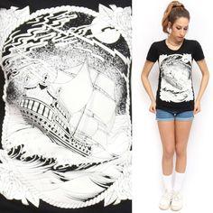 REBEL8 Black Tattoo Style Rose Pirate SHIP Print Graphic T Shirt | eBay