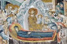 """The """"Dormition of Our Most Holy Lady, the Theotokos and Ever-Virgin Mary"""" is the feast of the """"falling asleep"""" (death) of the Theotokos, known as Kimissis."""