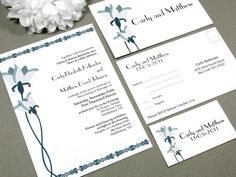 Lily Art Nouveau Wedding Invitation Set by by RunkPockDesigns, $1.75