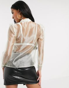 Buy organza tie blouse in cream at ASOS. Get the latest trends with ASOS now. Night Outfits, Sexy Outfits, Cool Outfits, Tie Blouse, Sheer Blouse, Transparent Dress, Indian Fashion, Womens Fashion, Satin Skirt