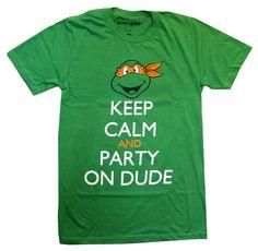 Teenage Mutant Ninja Turtles Michelangelo Keep Calm and Party Adult T Shirt | eBay