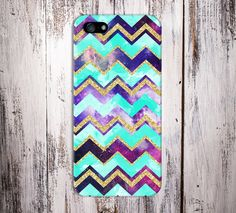 Teal x Gold Glitter x Universe Chevron Case for iPhone and Samsung