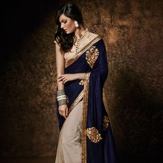 Dark #Blue and Beige Velvet and Net #Saree with Blouse