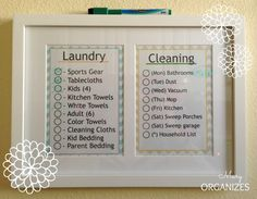 Keeping Track of Cleaning, very cute idea!