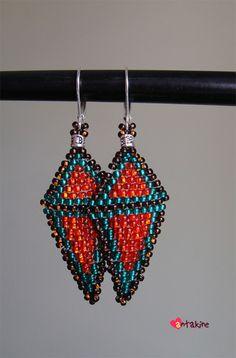 Earrings. Brick Stitch.  (Czech seed beads, metal details).