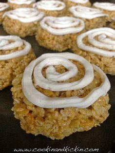 Cinnamon Roll Rice Krispie Treats! http://www.cookinandkickin.com/2013/09/cinnamon-roll-rice-krispie-treats.html?m=0
