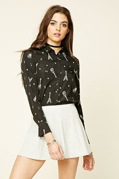 Forever 21 Contemporary - A woven shirt with a basic collar, a buttoned front, button-cuff long sleeves, and an allover print of guitars, music notes,…