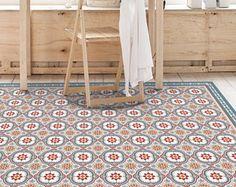 Vinyl floor mat with decorative tiles pattern in blue. Spanish style area rug, kitchen rug, printed on linoleum. Kitchen Rug, Vinyl Rug, Best Interior Design Apps, Kitchen Mats Floor, Vinyl Flooring, Tile Design, Vinyl Floor Mat, Home Decor, Decorative Tile