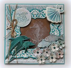 """Die cuts with foil/metallic card stock...Ineke""""s Creations: Can't wait to sea you"""