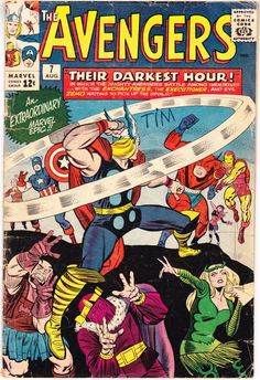 Avengers 7, Captain America, Thor comic. Iron Man, Jack Kirby art, Silver Age book, The Wasp, Giant