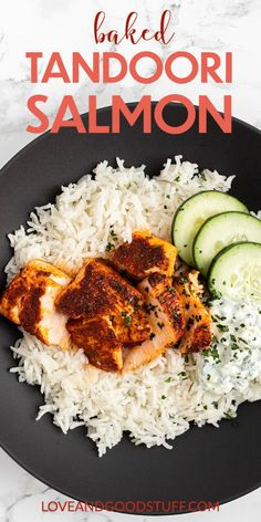 Delicious tandoori spiced baked salmon with raita! This easy and nutritious main dish takes only minutes to prepare. Served with a simple cooling raita, this flavourful salmon dish is a weeknight favourite! Healthy Salmon Recipes, Seafood Recipes, Healthy Dinner Recipes, Asian Recipes, Whole Food Recipes, Fish Recipes, Lobster Recipes, Healthy Dinners, Family Recipes