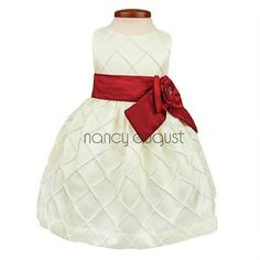 Graceful Ivory Diamond Quilted Bodice Baby Dress with Red Sash
