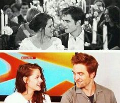 On screen Off screen Bella And Edward Wedding, Twilight Jokes, Twilight Saga Series, Twilight Breaking Dawn, Robert Pattinson And Kristen, Edward Cullen, Seasons Of The Year, Kristen Stewart, Book Series