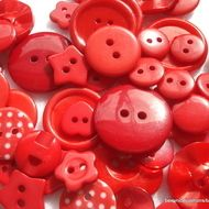Pack 50 Mixed Red Buttons Christmas Buttons