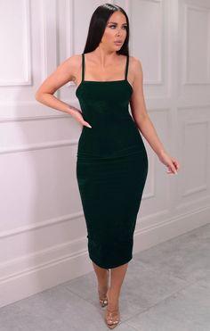 Emerald Velvet Strappy Square Neck Bodycon Midaxi Dress - Sara Velvet Material, Killer Heels, Boss Babe, Mini Bag, Emerald, Bodycon Dress, Dresses, Party, Blog