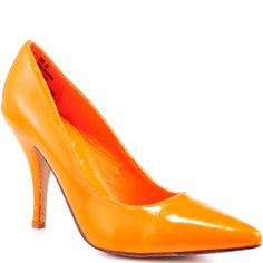 Show your true colors in the vibrant Too Neon by 2 Lips. A classic silhouette gets an update with its deep orange patent upper and 4 inch stiletto. This trendy pump features a pointed toe to keep you in the fashion know.