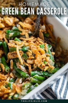 """Is it even Thanksgiving without Green Bean Casserole? This Homemade Green Bean Casserole Recipe is better than the usual way you make it because I've nixed the canned soup! After you try this amazing recipe for Thanksgiving you'll never make it the old way again! But instead of making it the """"easy"""" way with canned beans and soup.. ugh.. try this amazing homemade recipe instead! Your guests will thank you and it's really not a difficult recipe. Very easy to make. Best Christmas Recipes, Thanksgiving Recipes, Holiday Recipes, Greenbean Casserole Recipe, Casserole Recipes, Difficult Recipe, Blanching Green Beans, Green Bean Dishes, Homemade Green Bean Casserole"""