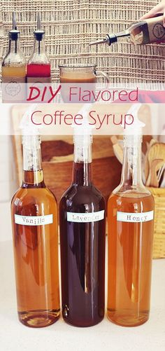 DIY Flavored Coffee Syrup-probably would mix caramel and vanilla.