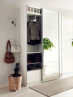 Ikea Hallway Storage, mirror sliding panel, small space interior design - Ikea DIY - The best IKEA hacks all in one place Hallway Cupboards, Ikea Hallway, Hallway Storage, Ikea Storage, Cupboard Storage, Bedroom Storage, Storage Mirror, Diy Bedroom, Trendy Bedroom