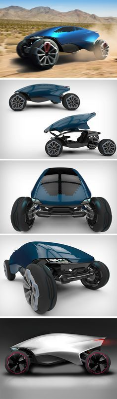 This modern-world concept SUV is titled the Khoji and is designed for India in 2035. The car is envisioned to be a fully-electric adventure SUV, and to dominate the massive variety of terrains found in the country. It also features a unique hexagonal smart-glass tiling on the front and sides that turns opaque when the car has been switched off, shielding the car's insides from heat and direct sunlight.