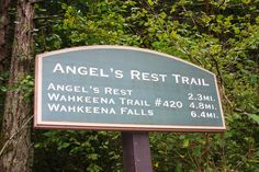 Angel's Rest sign.  The distance from here to Wahkeena Falls via the road is about two miles.  I've hiked from Wahkeena, up and over to Angel's Rest, and returned on the road.  Columbia Gorge, OR.  10/2010.
