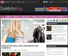 CelebrityMag Blogger Template é um template blogger para blog de noticiais, revista e etc. Com layout limpo e atraente, CelebrityMag tem 2 colunas, 1 sidebar direita, menus drop-down, slide de conteúdo em destaque, background preto, botões de redes sociai