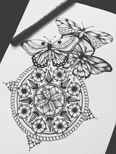 Mandala and Butterfly Tattoo Idea