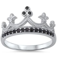 Crown Ring Solid 925 Sterling Silver Round Jet Black Diamond Onyx CZ Accent King Queen Crown Half Eternity Ring Crown Lovers Gift