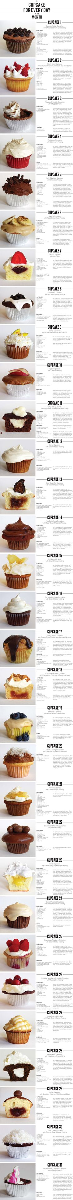 A cupcake for every day of the month. Couldn't really commit to making cupcakes everyday but here are a ton of yummy recipes in one place! Someone else is welcome to make me cupcakes every day if you'd like ; Cupcake Recipes, Cupcake Cakes, Dessert Recipes, Cupcake Ideas, Cup Cakes, Cupcake Flavors, Dessert Ideas, Yummy Treats, Sweet Treats