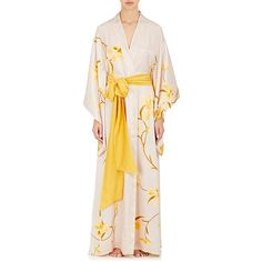 Carine Gilson Women's Flower-Print Silk Long Kimono Robe (2,265 CAD) ❤ liked on Polyvore featuring intimates, robes, cream, floral silk robe, long floral kimono, silk robe kimono, long silk robe and kimono robe