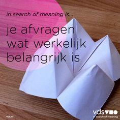 """De eerste """"in search of meaning is"""" quote in een lange rij - wordt vervolgd dus."""