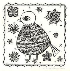 Folk Art Bird Drawing by Thaneeya McArdle