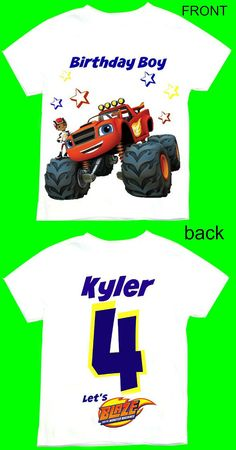 Blaze and the Monster Machines shirt 12M,18M, 2T,3T. 4T 5T.6T.Personalization is included at no additional cost.