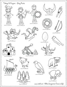 Vikings- drawing - writing - stories - story rocks - kindergarten - first grade - second grade - third grade - writing prompts - sentence starters - story prompts - story map - www.crekid.com