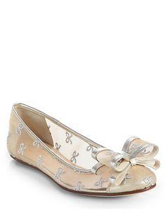 KATE SPADE NEW YORK Bernice Mesh & Leather Bow Ballet Flats