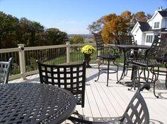 Vekadeck vinyl deck and railing with decorative aluminum balusters Vinyl Deck, Custom Decks, Deck Railings, Decking, Home Remodeling, Fence, Diy Projects, Exterior, Patio