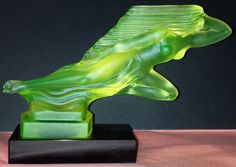 Collectibles Art Deco Vaseline Glass Spirit Of Ecstasy Rolls Royce Car Mascot Modern Design