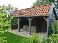garden shed veranda Pergola Patio, Backyard Patio, Gazebo, Garden Buildings, Garden Structures, Patio Design, Garden Design, Design Design, Outdoor Rooms