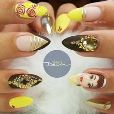 Beauty and the beast nails, beauty nails, princess nail designs, disney pri Princess Nail Designs, Disney Princess Nails, Disney Nail Designs, Cute Nail Designs, Disney Acrylic Nails, Best Acrylic Nails, Beauty And The Beast Nails, Beauty Nails, Belle Nails