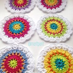 There are so many things that you can make with crochet circle patterns - mandalas, doilies, coasters, cushions and more. This roundup of crochet circle patterns will get you started! Crochet Circle Pattern, Crochet Coaster Pattern, Crochet Motif Patterns, Crochet Circles, Crochet Blocks, Crochet Squares, Crochet Stitches, Granny Squares, Crochet Tablecloth